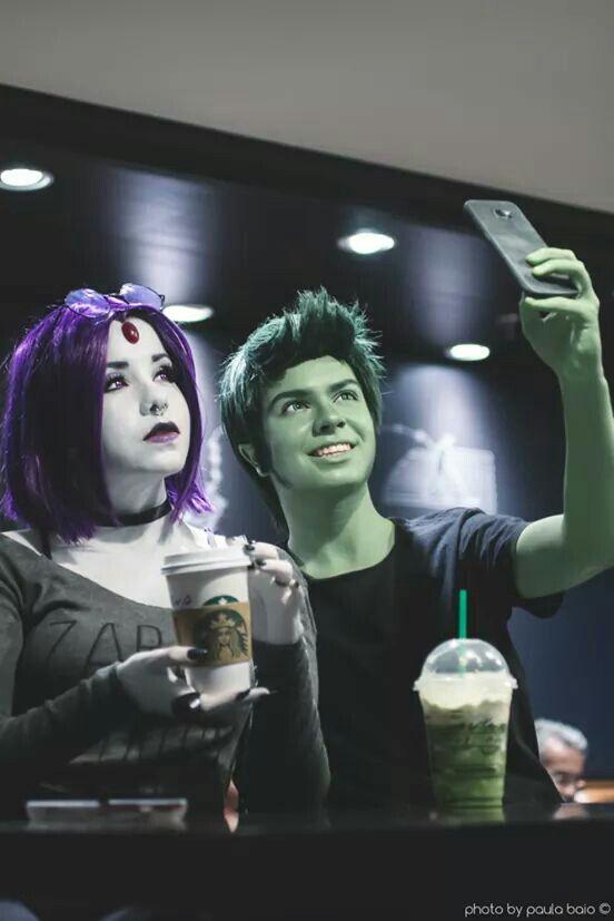 Raven, Beast Boy  Teen Titans  Cosplau, Starbucks -2631