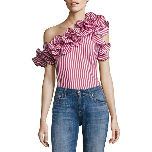 """Of-the-moment ruffles shape striped one-shoulder top Ruffled one-shoulder neckline Short sleeve Concealed side zip About 26"""" from shoulder to hem Cotton Dry cl…"""