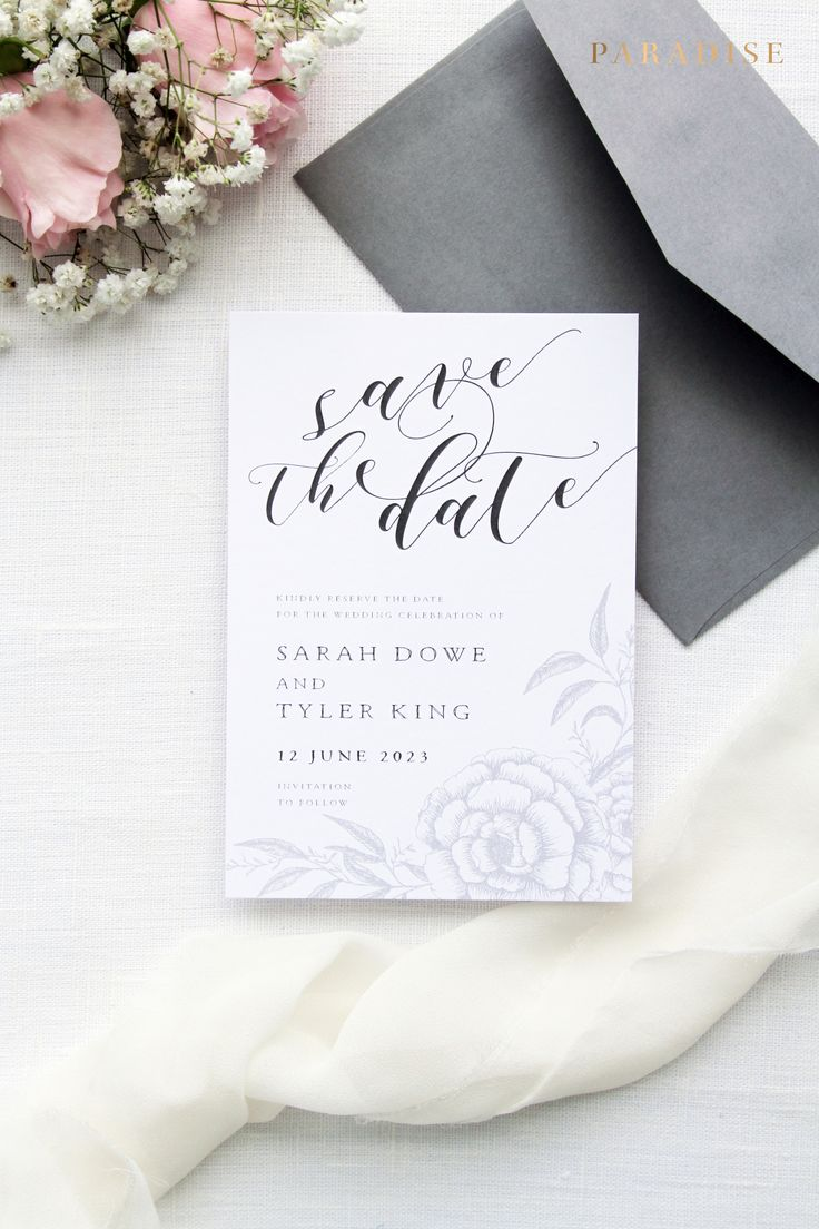 save the date wedding stationery uk%0A Rebecca Silver and Black Heart Save the Date Cards  Wedding Stationery  Save  the Date