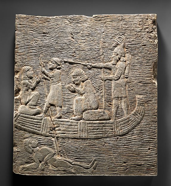 Relief: Assyrian soldier conducting captives across the water | Assyrian | Neo-Assyrian | The Met