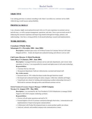Example Of Customer Service Resume Objective