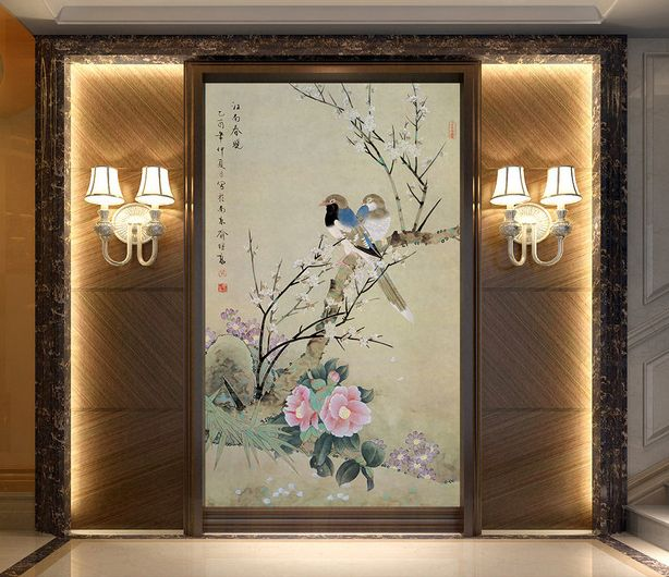rev tement mural style asiatique papier peint tapisserie num rique sur mesure les oiseaux et les. Black Bedroom Furniture Sets. Home Design Ideas