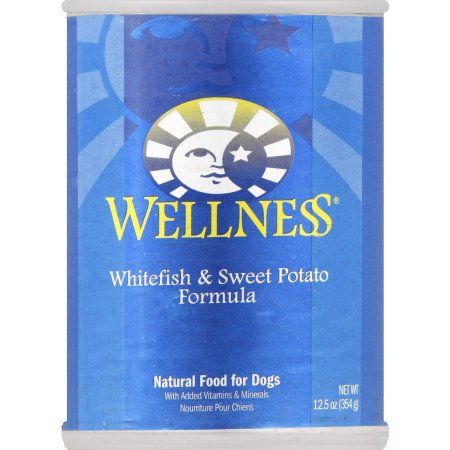 Wellness Natural Food for Dogs, Whitefish and Sweet Potato Formula, 12.5 oz, 12-Pack