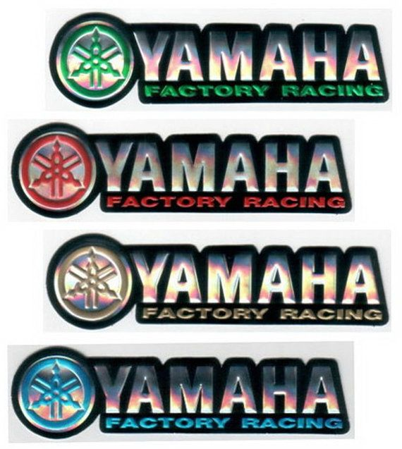 Racing decals foil sticker 2 pc yamaha factory racing emboss for motorcycle motocross supercross dirt