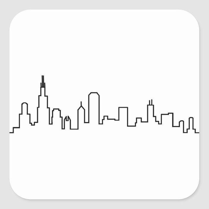 Chicago Skyline Stickers Zazzle Com Chicago Skyline City Skyline Art Skyline Drawing