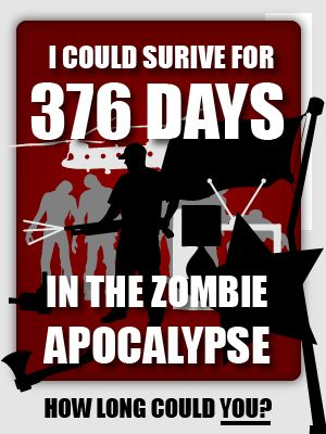 How many days could you survive in the Zombie Apocalypse? Awesome quiz. 376! BAMF