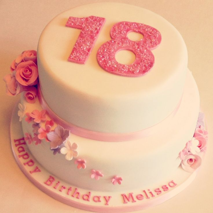 Floral 18th birthday cakes! Make the pink a mint green and it would be perfection! :)