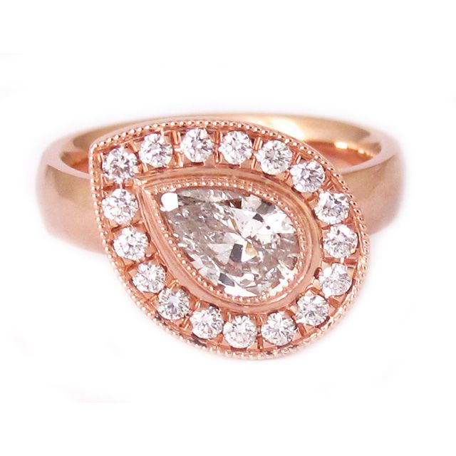 Pear Shape 'Mandala' Ring    Pear Shaped Diamond + 14K Rose Gold      $9,900