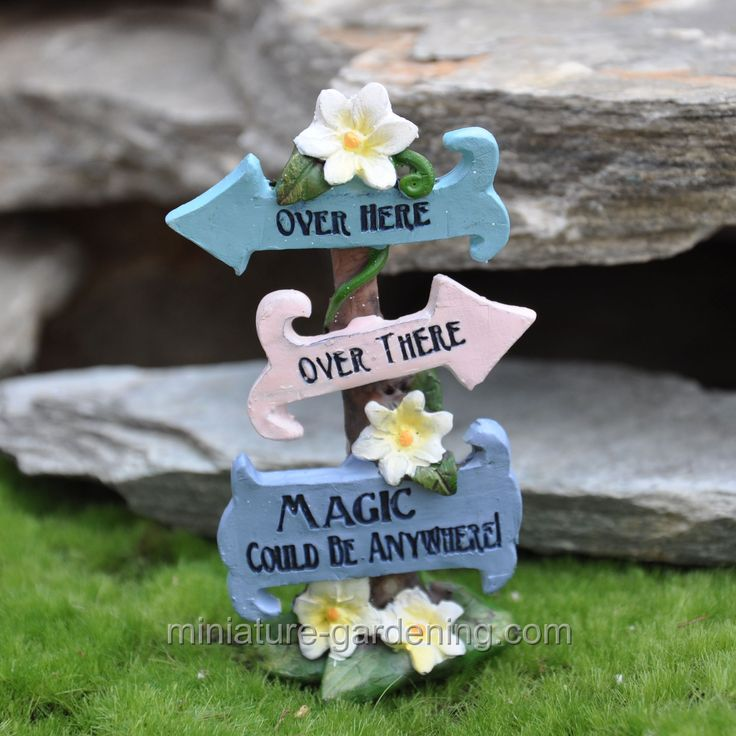 Miniature Gardening - Magic Could Be Anywhere Sign #miniaturegardening #fairysigns #fairygarden #fairygardens #planningaminiaturegarden #minigarden