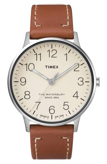 Free shipping and returns on Timex® Waterbury Classic Leather Strap Watch, 40mm at Nordstrom.com. A slender bezel widens the face for quick readability on this cleanly designed round watch with a light-up INDIGLO dial made for low-light conditions.