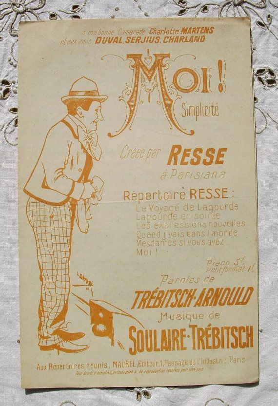 Antique Illustrated French Song / Sheet Music   Moi. by ChicEtChoc, $7.00