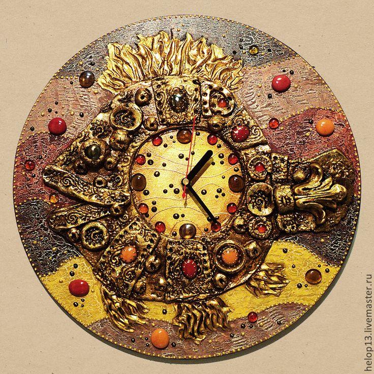 "Купить Часы ""Сказочная рыба"" в бежевых тонах.... - часы настенные, часы большие, рыба, сказка"