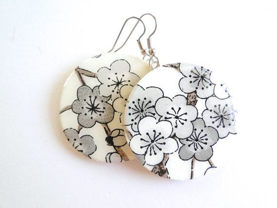 Large dangle Black and White Cherry Blossom earrings, Japanese Paper and Wood via @Etsy, $14.00