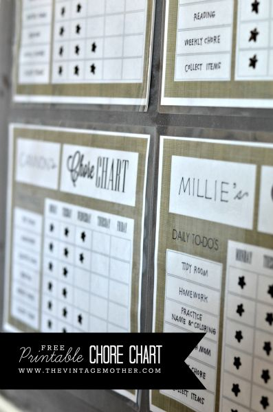 FREE Printable Chore Chart www.thevintagemother.com
