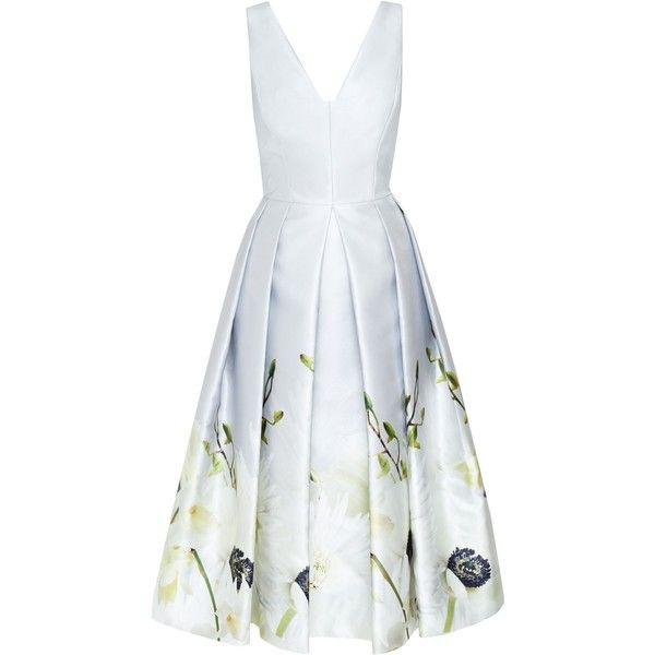 Ted Baker Dorvina Pearly Petal Ballerina Dress (£499) ❤ liked on Polyvore featuring dresses, grey, women, fit flare dress, grey fit and flare dress, pleated dress, below the knee dresses and grey dress