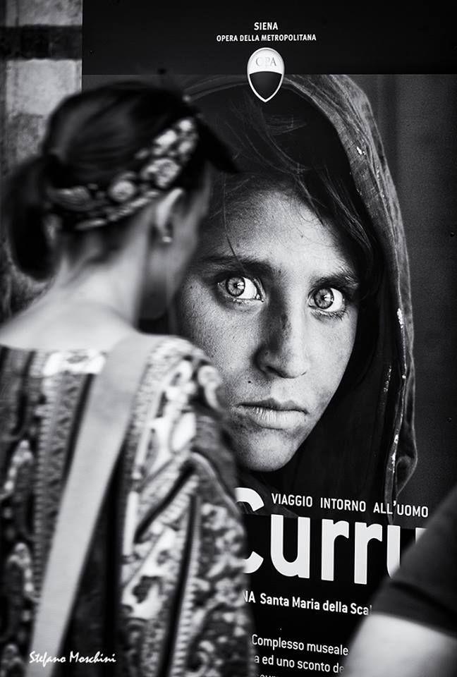 """""""La ragazza afgana"""" di Steve McCurry in Piazza del Duomo - Foto di Stefano Moschini - #Siena #Toscana #SteveMcCurry #PiazzaDelDuomo"""