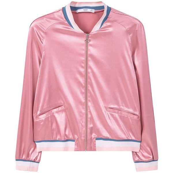 MANGO Satin Bomber Jacket ($40) ❤ liked on Polyvore featuring outerwear, jackets, coats, bomber jacket, pocket jacket, blouson jacket, pink satin jacket, zip jacket and satin bomber jacket