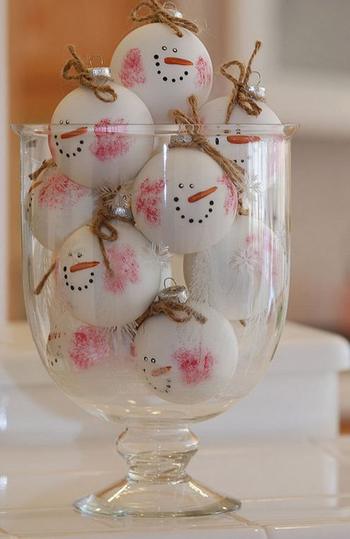 Snowman Christmas - Fill glass ball ornaments with white paint and then on the outside paint the red in the checks and the nose and face. then add a twine string