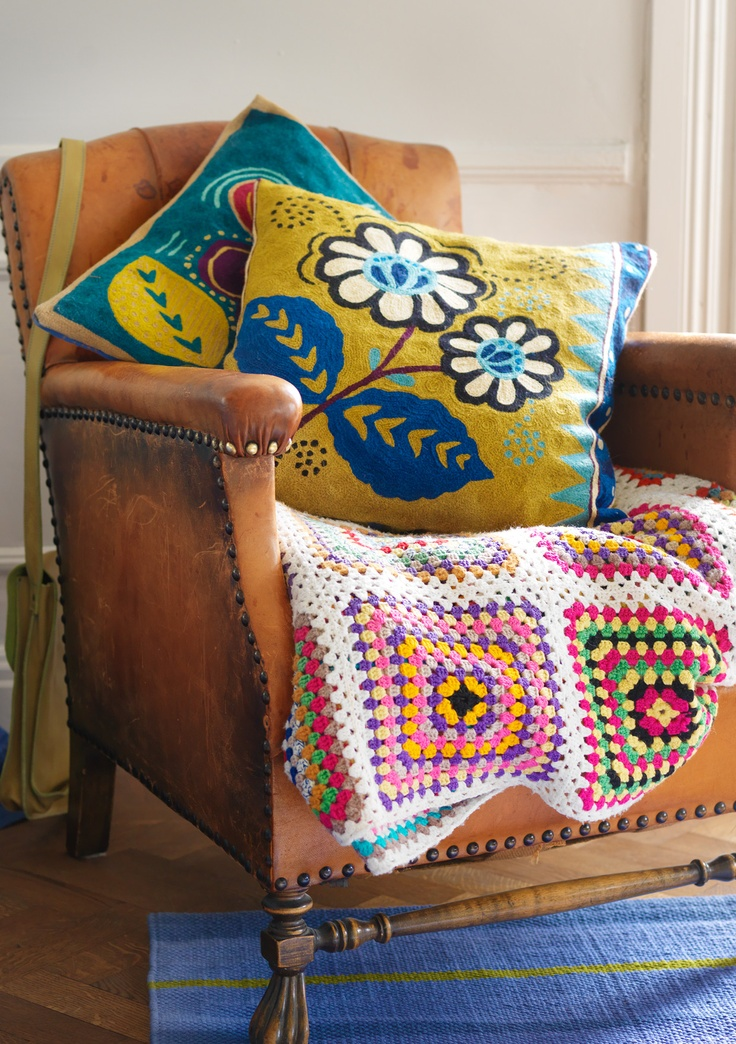 """""""Astri"""" embroidered cushion cover in wool & cotton – Buy 3, pay for 2 on cushion covers! – GUDRUN SJÖDÉN – Webshop, mail order and boutiques   Colourful clothes and home textiles in natural materials."""