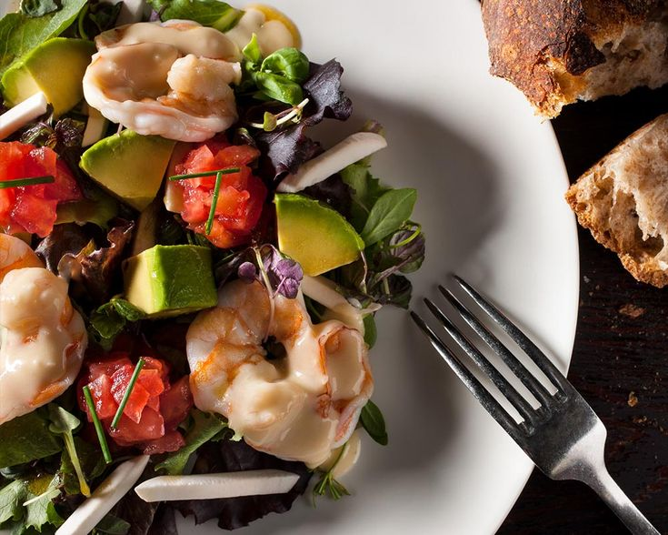 Steamed Shrimp Salad with Avocado, Mushroom and Tomato, Champagne Vinaigrette at The Mercer Kitchen