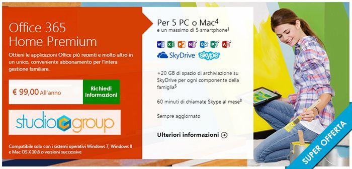 Grazie a Office 365 Home Premium è possibile installare le applicazioni Office più aggiornate in un massimo di 5 PC Tablet o  Mac e in più d...