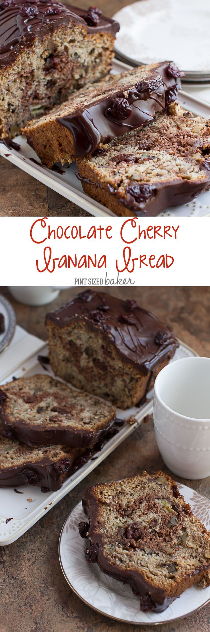 Chocolate Cherry Banana Bread is spiked with dried cherries and toasted walnuts then covered in chocolate!