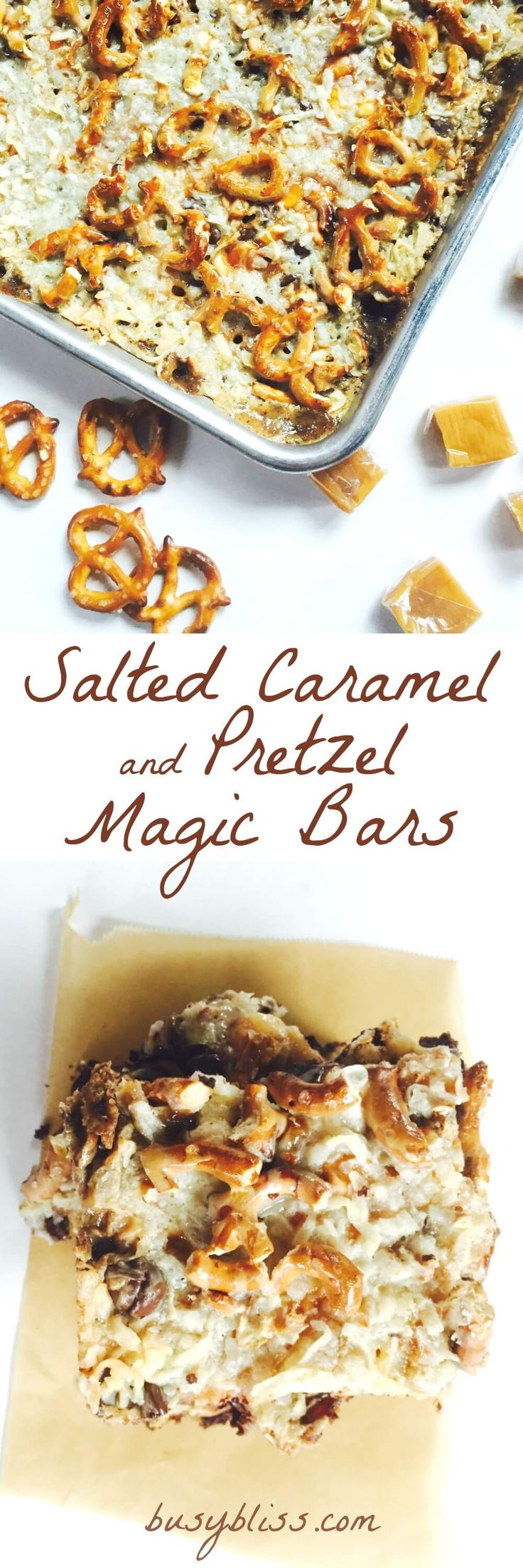 Whether you are a fan of salty or sweet, Salted Caramel and Pretzel Magic Bars will hit the spot.  A super easy recipe to add to your holiday baking!