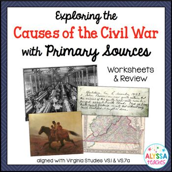 Students can use this resource to read background information about causes of the Civil War, analyze related primary sources, and answer critical thinking questions. This is not an in-depth primary source analysis activity, but an overview of causes of the Civil War that incorporates primary sources. After finishing the packet, students can complete a two-page review worksheet to show what they have learned. ...