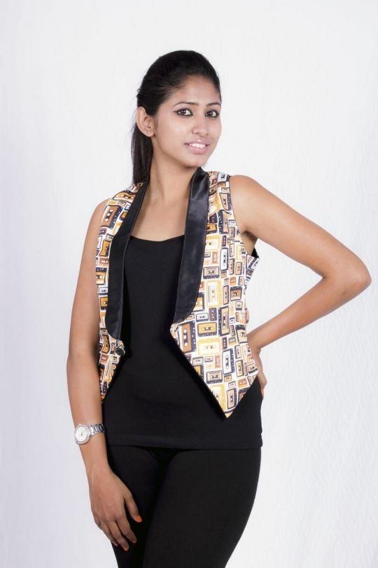 Casette printed waistcoat online shopping India | IndieBazaar | Sweet Couch