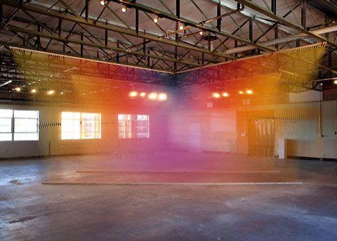 Rainbow thread installations by Gabriel Dawe