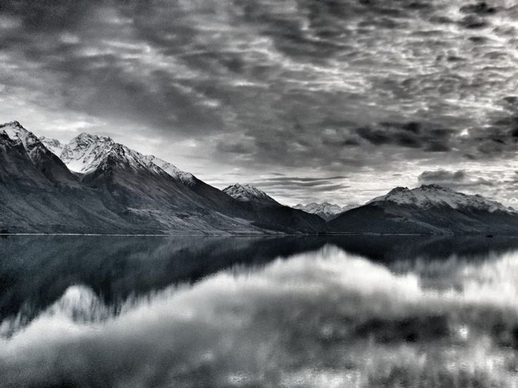 The northern end of Lake Wakatipu, New Zealand, on the shore near Blanket Bay Lodge