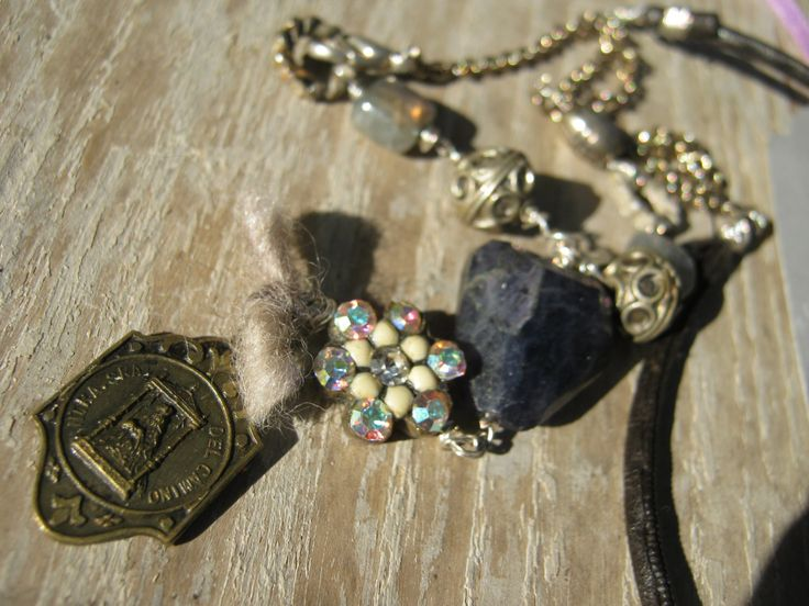 On The Edge Of Love - Vintage purple gem stone oxidized patina and labradorite by KaRaExquisiteJewelry on Etsy
