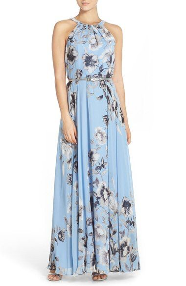 Eliza J Belted Chiffon Maxi Dress (Regular & Petite) | Nordstrom