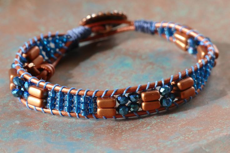Copper & Blue Seed Bead Wrap Bracelet, One Wrap Beaded Leather Wrap Bracelet, One Wrap Blue Metallic Seed Bead Bracelet Metallic Copper Wrap $25.00 by BaysideBlissDesigns on Etsy
