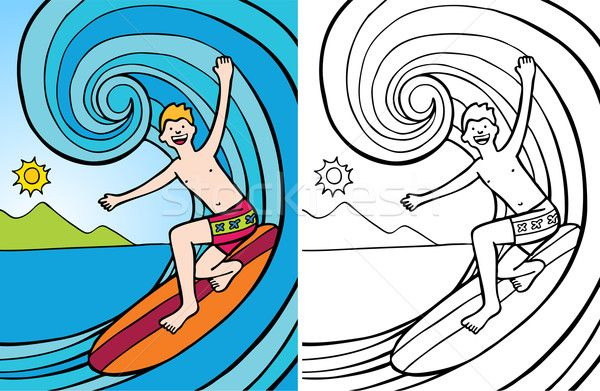 Imagini pentru desene cu surferi