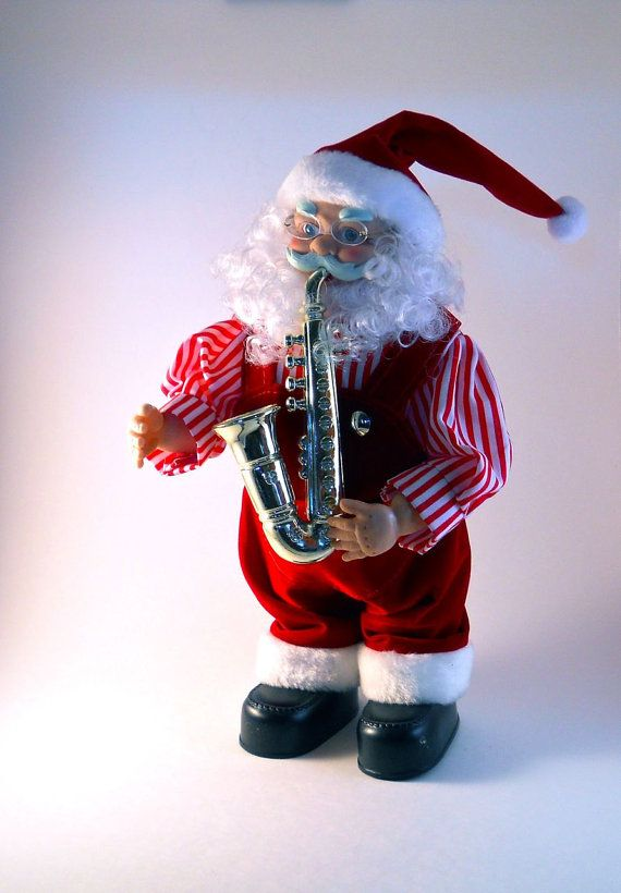 Standing Santa Clause Playing a Saxophone by MissPattisAttic, $15.00