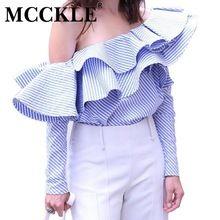 MCCKLE Мода женщины футболки slash шеи 2017 Весна оборками блузка сексуальные дамы полный рукавом в полоску Блузки повседневная Одежда топы(China (Mainland))