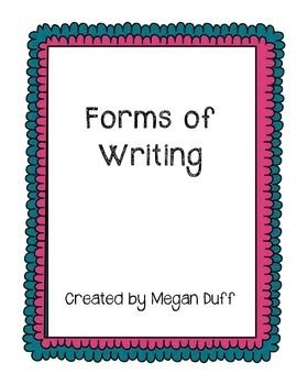 Posters - one for each form of writing with characteristics, text features and examples for each. Colourful and ready for display. Use as a teaching tool or anchor charts!