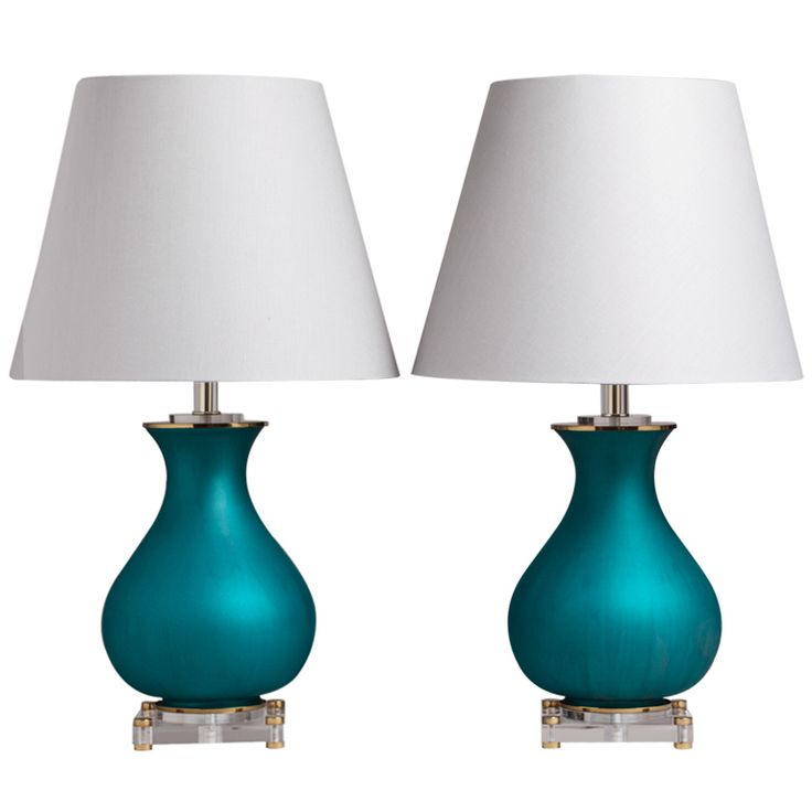 An Unusual Pair Of Teal Glass And Lucite Table Lamps 1960s
