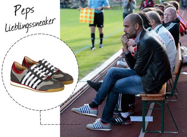 Pep Guardiola und seine Dsquared² Sneaker (Bild: Getty) http://www.fashionupyourlife.de/pep-guardiolas-lieblingssneaker-von-dsquared2/
