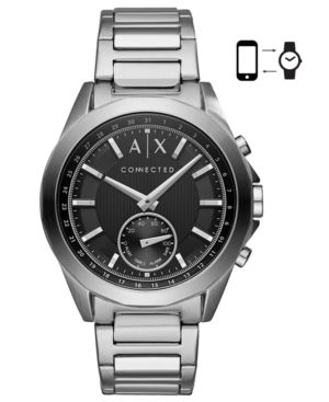 A|X Armani Exchange Men's Connected Stainless Steel Bracelet Hybrid Smart Watch 44mm - Silver