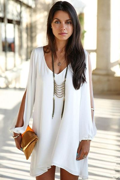 Solid Color Off-The-Shoulder Chiffon Dress
