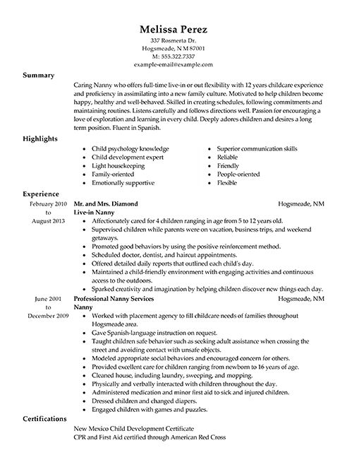 Resume Sample For Nanny - http://resumesdesign.com/resume-sample-for-nanny/