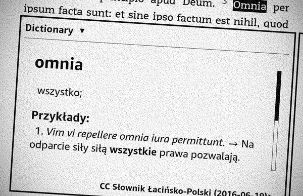 Słownik łacińsko-polski dla Kindle
