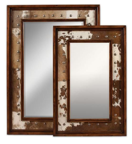 Cow Hide Covered Studded Mirrors Top 5 Cow Hide Decorating Ideas NoticeBoardStore.com