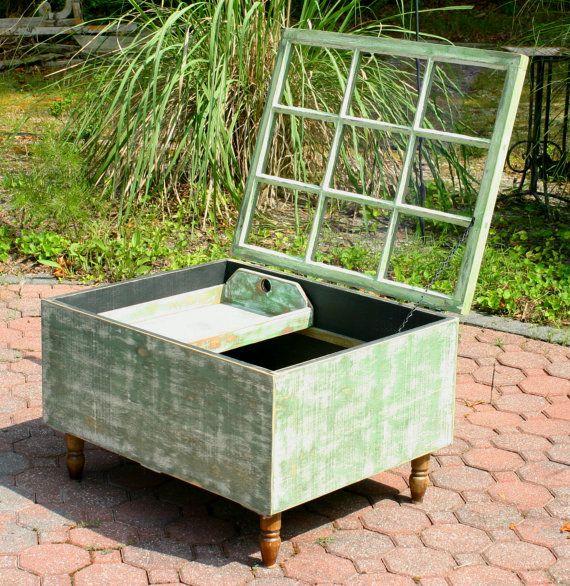 Window Sash Table Shadow Box Table Reclaimed Distressed Furniture Repurposed Window Coffee Table Home Decor