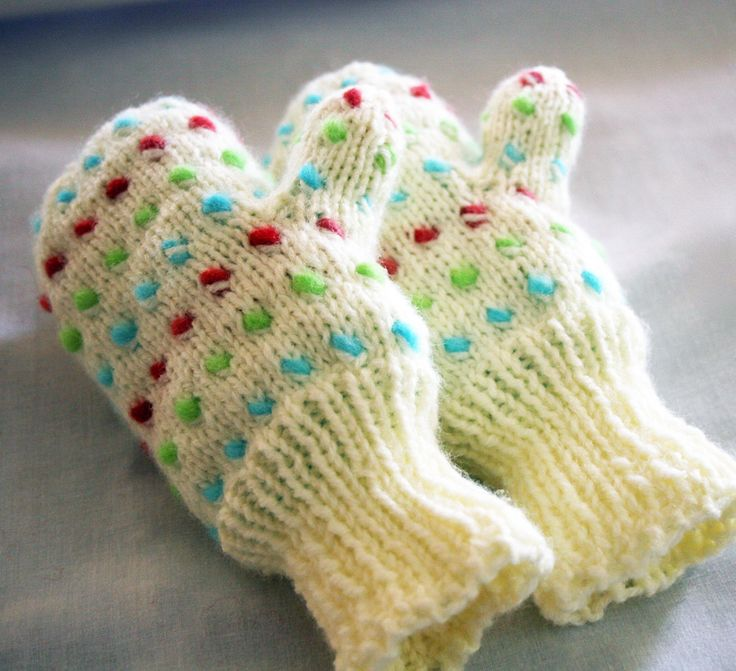 Childrens Thrummed Warm Winter Mittens Ice Blue Lime Green and Rasperry Colored Thrums