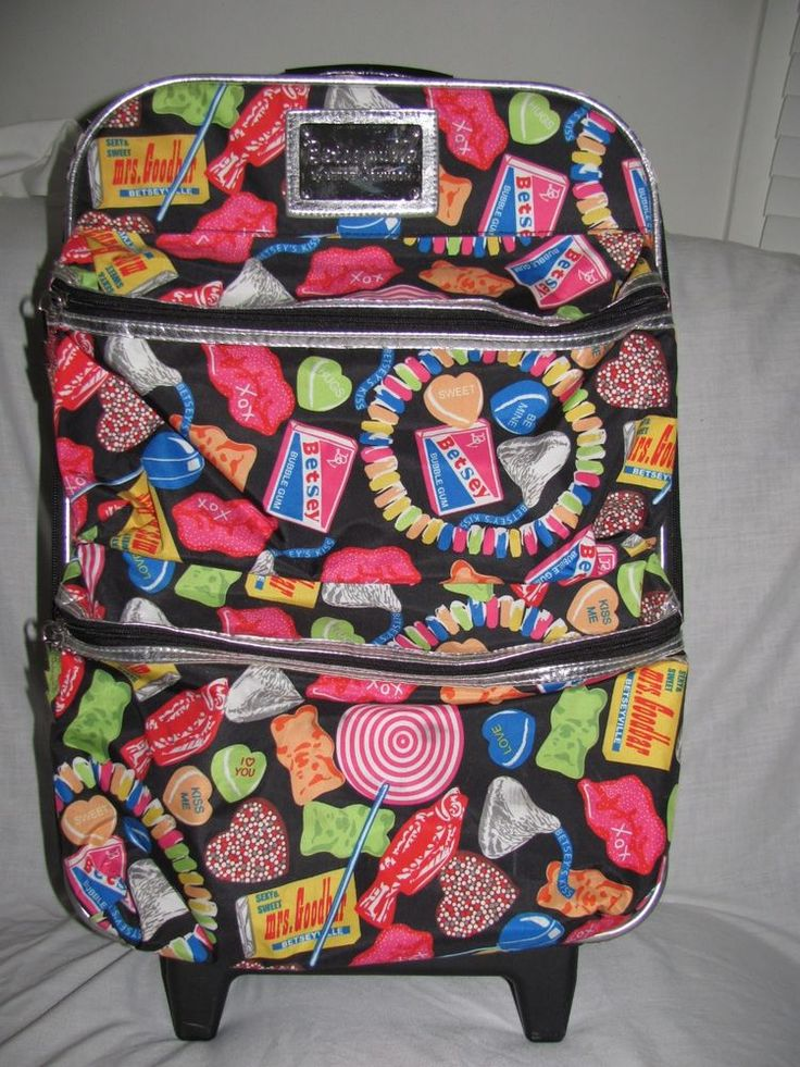 Betsey Johnson Betseyville Candy Girl Luggage Rolling Suitcase Colorful #Betseyville