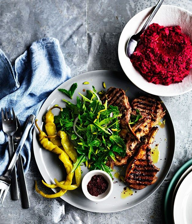 Sumac lamb cutlets with beetroot hummus recipe :: Gourmet Traveller
