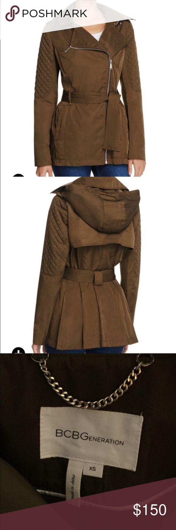 Bcbg coat Lightweight olive green bcbg coat with hood. Water resistant. Super cute!! BCBGeneration Jackets & Coats